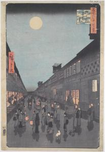 Night View of Saruwakacho par Hiroshige (1857)